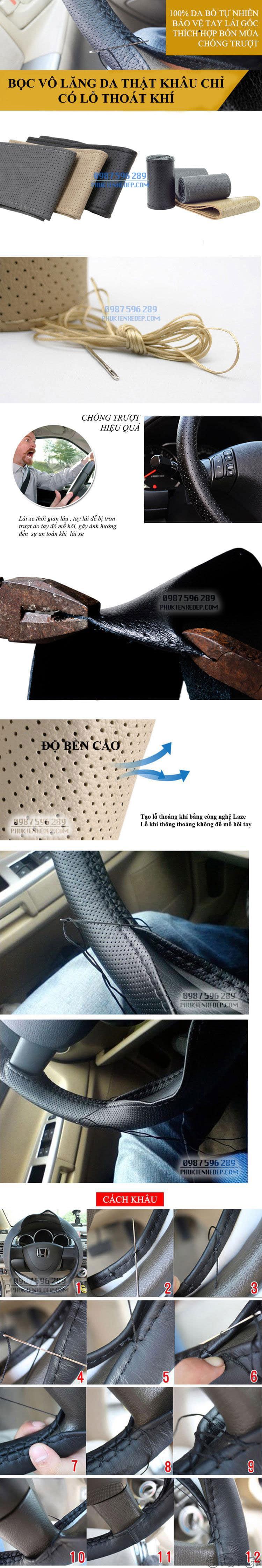 Bọc da vô lăng ô tô khâu tay 3