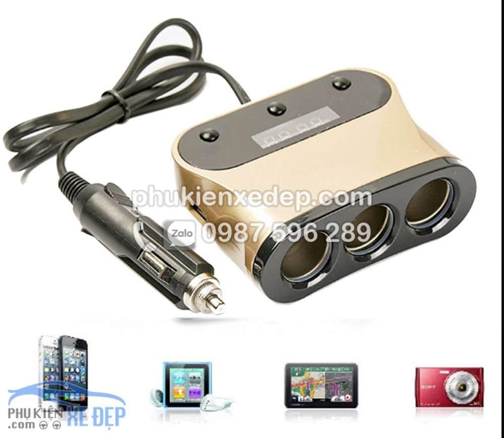Tẩu sạc chia 3 cổng 2 USB báo điện áp cho ô tô 3