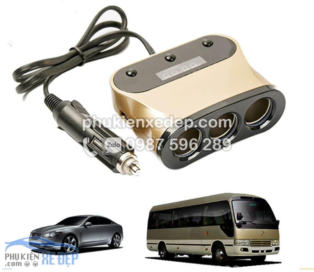 Tẩu sạc chia 3 cổng 2 USB báo điện áp cho ô tô 5