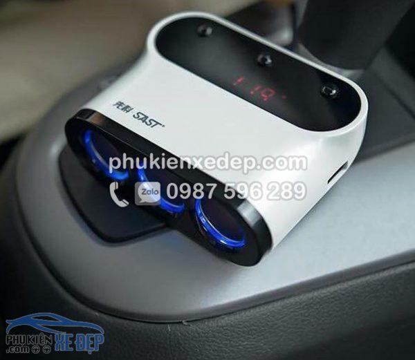 Tẩu sạc chia 3 cổng 2 USB báo điện áp cho ô tô 6