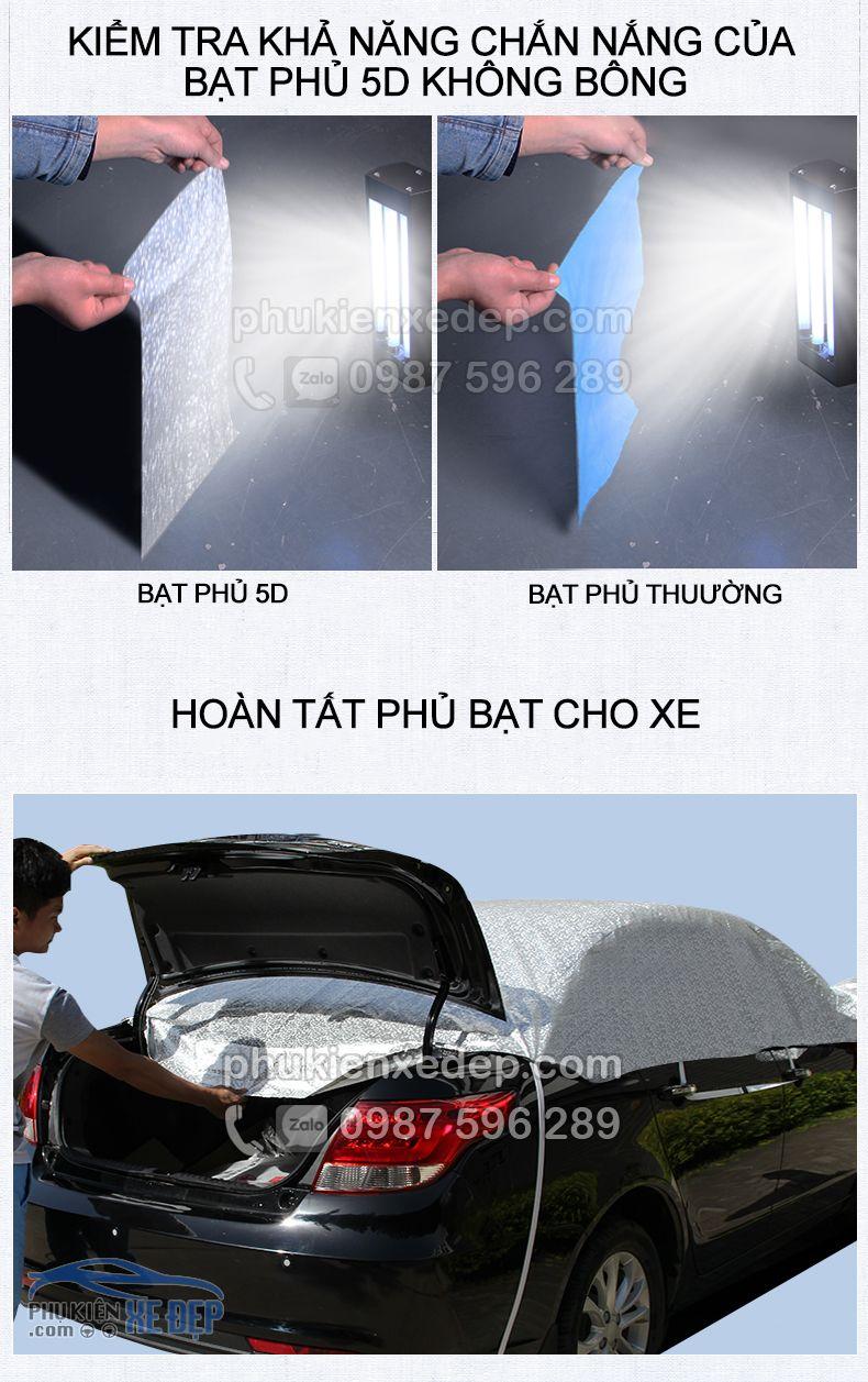 Bạt phủ nóc ô tô và chống nóng 5D không lót bông 2