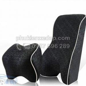 Bộ gối tựa đầu và tựa lưng ô tô 3D cao su non 1