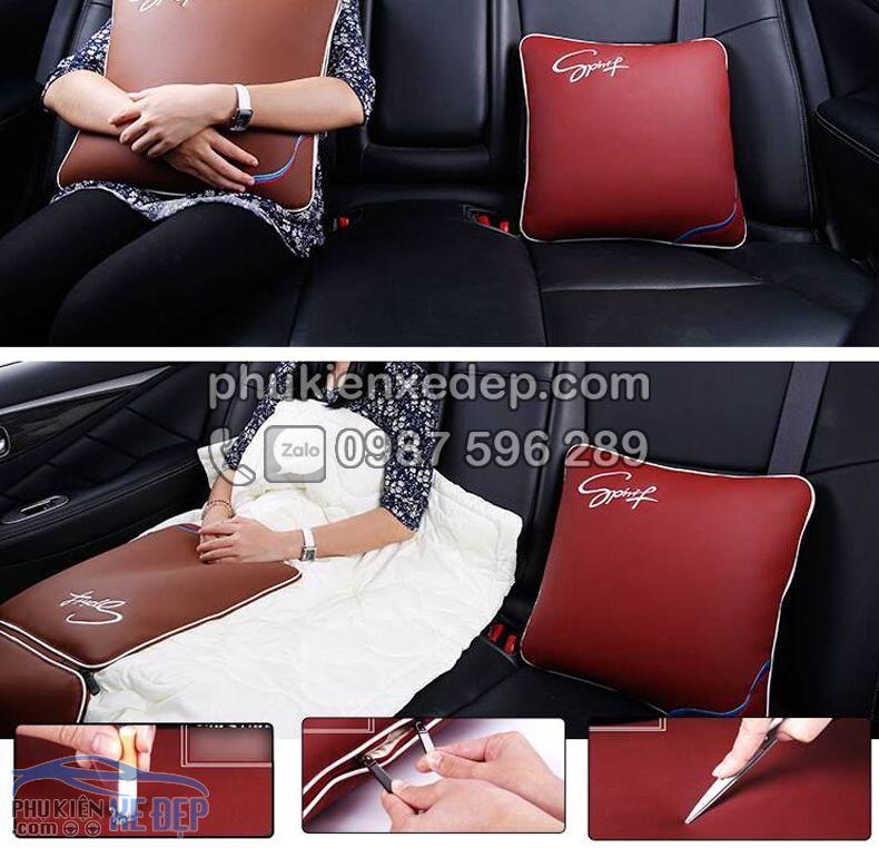 Gối tựa lưng ô tô kiêm chăn trên xe hơi 3
