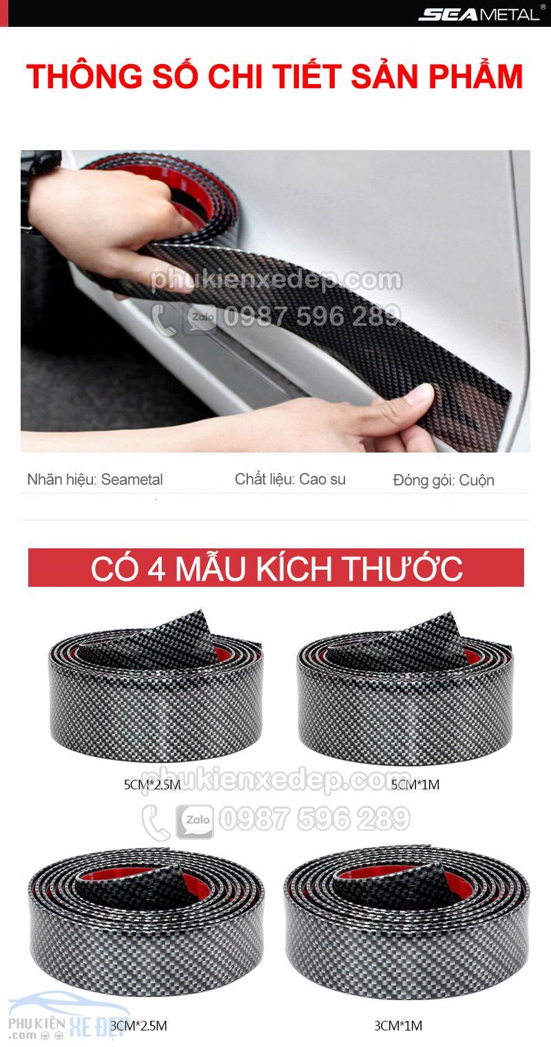 Nẹp carbon 5D chống va đập cốp xe, nẹp bước chân 1