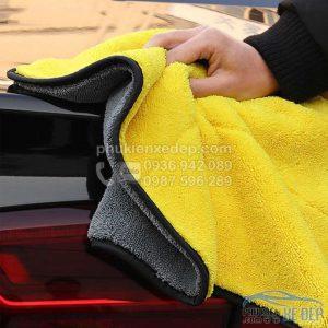 khăn lau xe ô tô 2 lớp microfiber 3