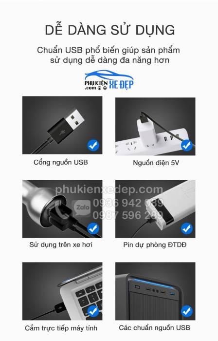 Quạt đơn mini trên ô tô hút taplo - kính 12v-24v cắm cổng USB 2