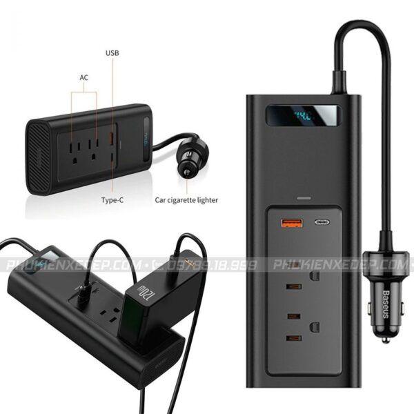 Bộ chuyển đổi nguồn điện 12V sang 110V-150W chính hãng Baseus