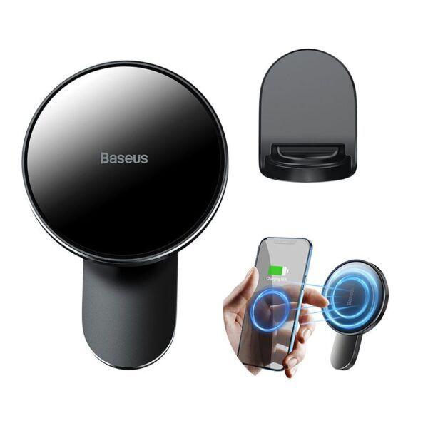 Giá đỡ điện thoại ô tô hút nam châm tích hợp sạc không dây Baseus